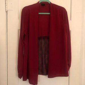 Rue21 red cardigan with sheer print back